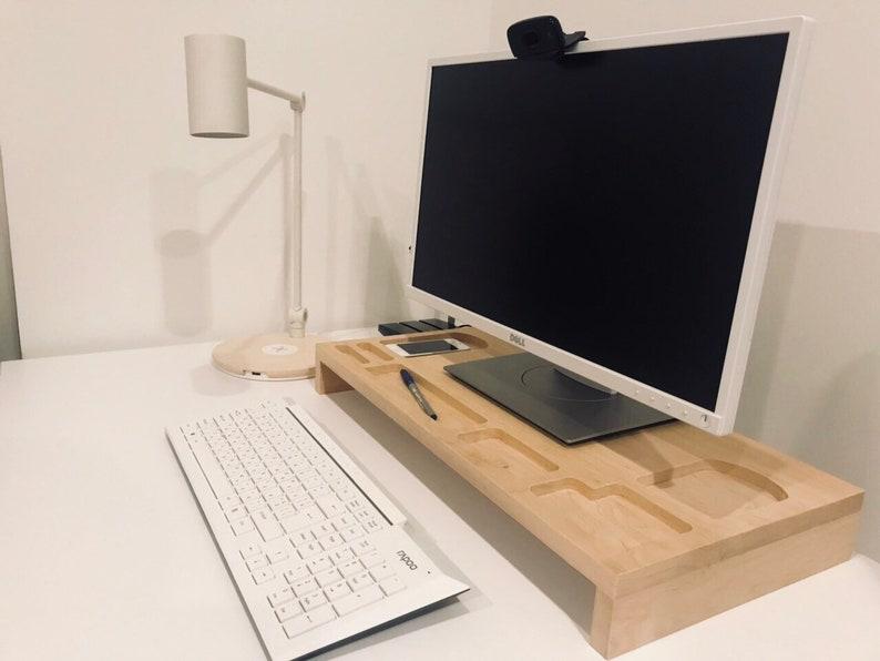Monitor Stand Wood Monitor Riser Wood Wooden Desktop Etsy