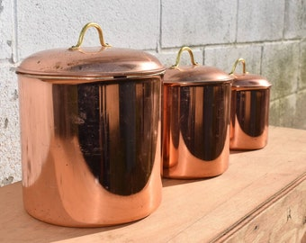 Vintage Copper Canister Set, Graduated, Farmhouse Country Kitchen Storage  Display, Copper Home Decor, Brass And Copper, Set Of 3