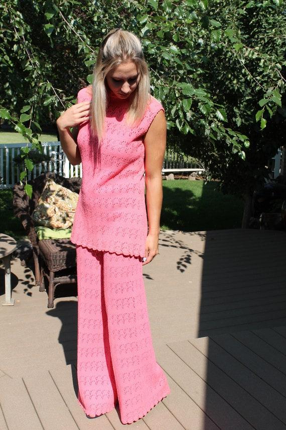 Pink Knit Vintage Pant Suit