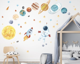 Solar System Wall Stickers Sun and Planet spaceship Planets with Name Self Adhesive Rocket Astronaut Wall Decals Peel Us Stick