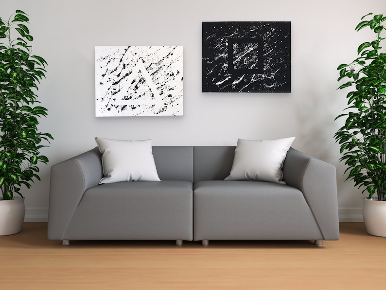 Minimalist Abstract Art Canvases  Hidden Shapes Set Of Two image 0