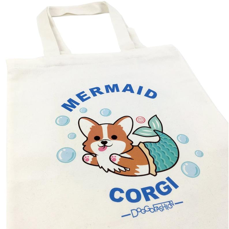 Cloth Shopping Bag Handbags DoggoFashion Corgi Mermaid Natural Canvas Zipper Tote Bag