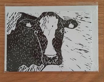 Cow Lino Print Greetings Card (Blank)