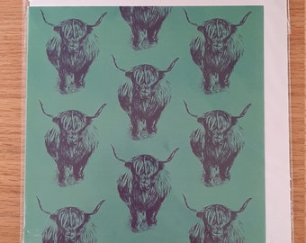 Turquoise Blue and Purple Highland Cow Repeat Pattern Greetings Card (Blank)
