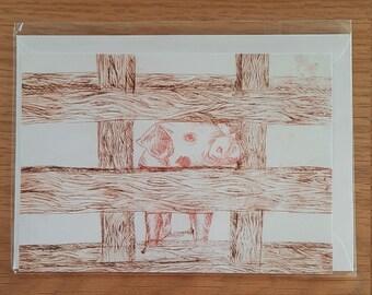 Pig Intaglio Greetings Card (Blank)
