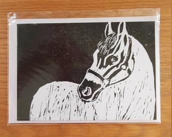 Horse Lino Print Greetings Card (Blank)
