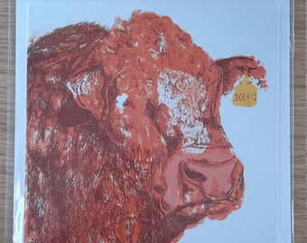 Limousin Bull 4 Colour Screen Print Greetings Card (Blank)