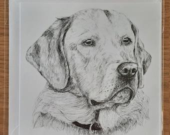 Golden Labrador Retriever Greetings Card (Blank)