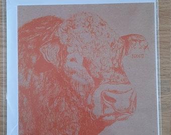 Limousin Bull Orange Screen Print on Brown Paper Greetings Card (Blank)