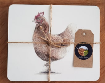 Brown hen placemats (pack of 4)