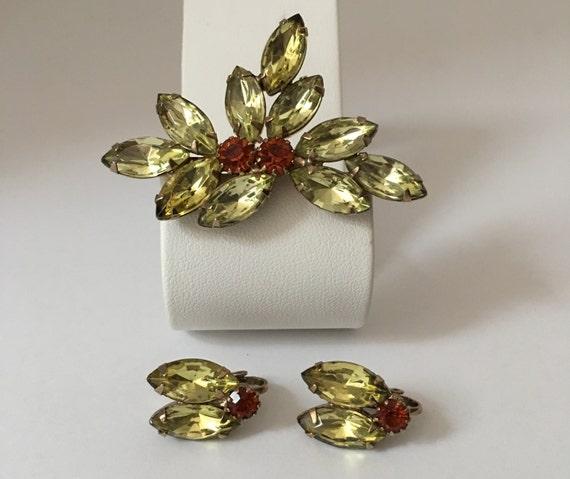 Vintage Rhinestone Brooch and Earring Set