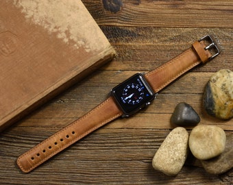 Genuine Brown Leather Apple Watch Band 42mm, 38mm, 40mm, 44mm for Series 1-2-3-4-5-6   FREE ENGRAVING