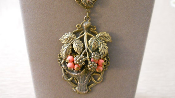 1930's Art Deco Flower Basket Necklace