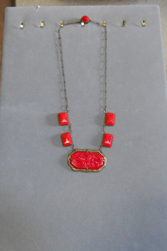 1930's Art Deco Red Carved Glass Necklace