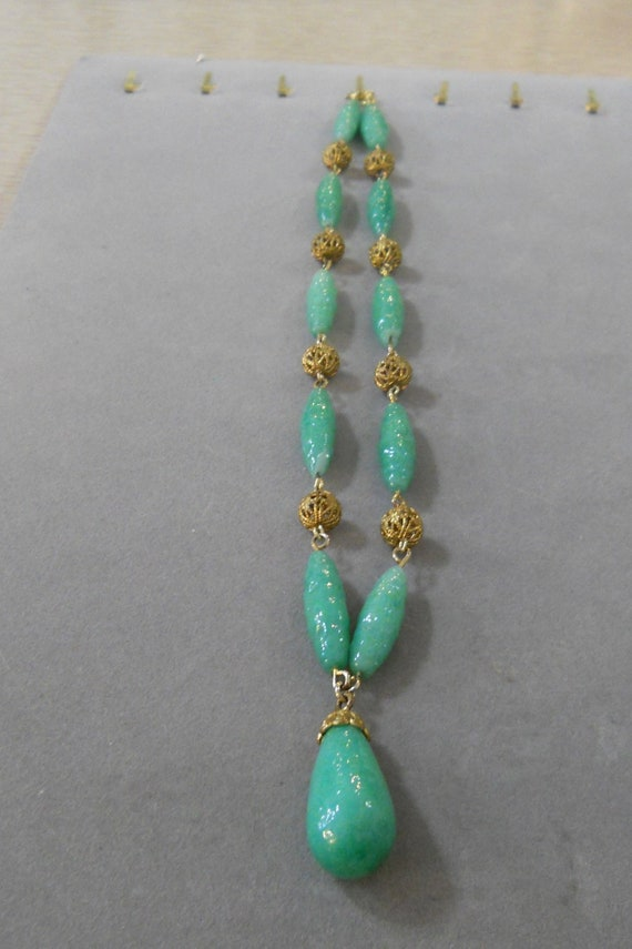 1930's Glass and Brass Art Deco Necklace