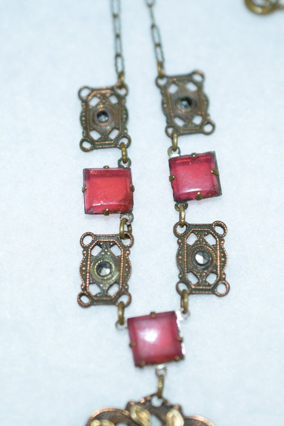 1930's Art Deco Brass and Carnelian Necklace - image 3