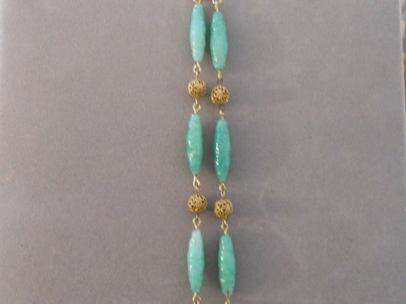 1930's Glass and Brass Art Deco Necklace - image 2