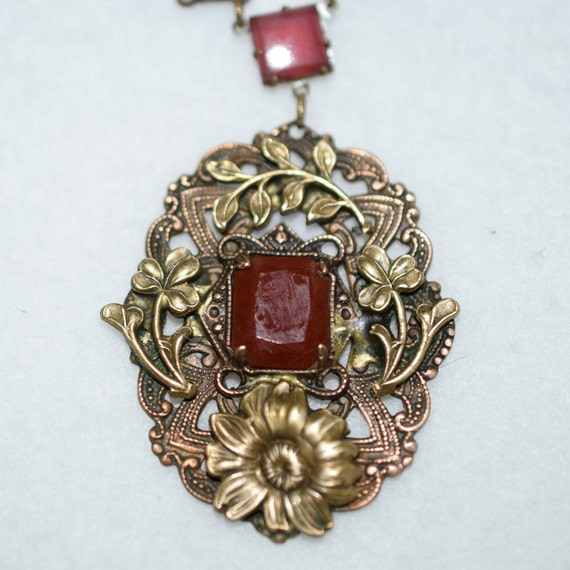 1930's Art Deco Brass and Carnelian Necklace - image 2