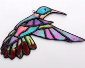 Bird hanging window stained glass. Original Valentine's Day gift. Iridescent multicolored hummingbird, boho décor. Iridescent boho sun catcher