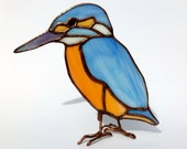 Bird stained glass, unique and original Valentine's Day table decoration. Miniature kingfisher glass suncatcher. Gift in love