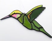 Suspended window stained glass, chartreuse green hummingbird and iridescent red. Unusual bird gift, sun-catching creation in stained glass
