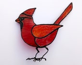 Bird stained glass, red cardinal, unique original table decoration, miniature sun catcher. Valentine's Day décor for her