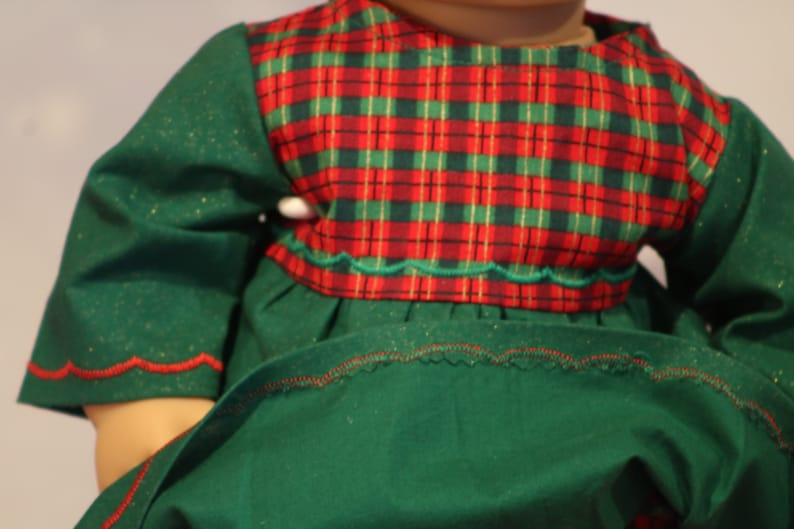 Green Dress with Ribbon Plaid Bodice for 15 baby dolls