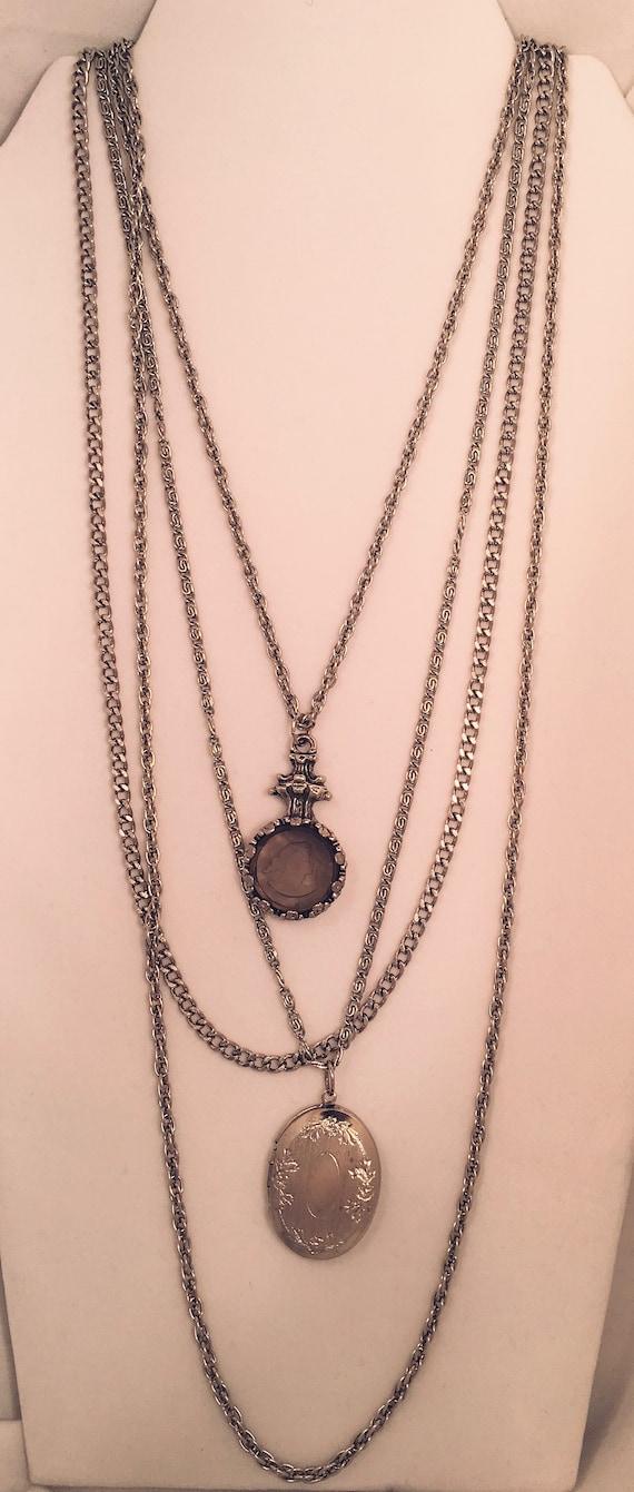 Goldette Silvertone Multi-Chain Necklace With Lock