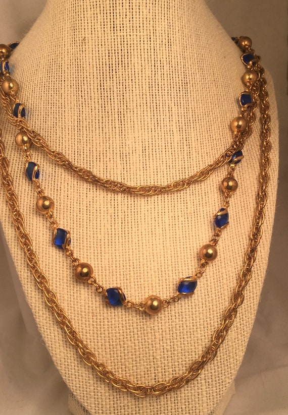 Vintage Multi-Chain Goldtone Necklace with Blue Cy