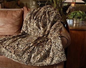 Complex Cheetah Premium Faux Fur Throw by No Harm Done Design, Handmade in USA