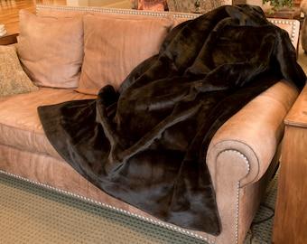 Brown Sheared Mink Premium Faux Fur Throw by No Harm Done Design, Handmade in USA