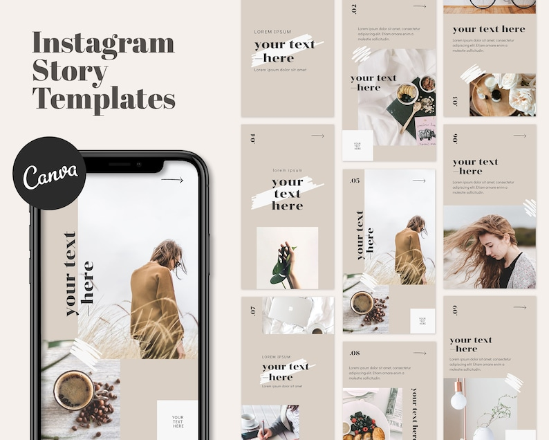 Instagram Story Templates For Canva  9 Social Media Templates image 0