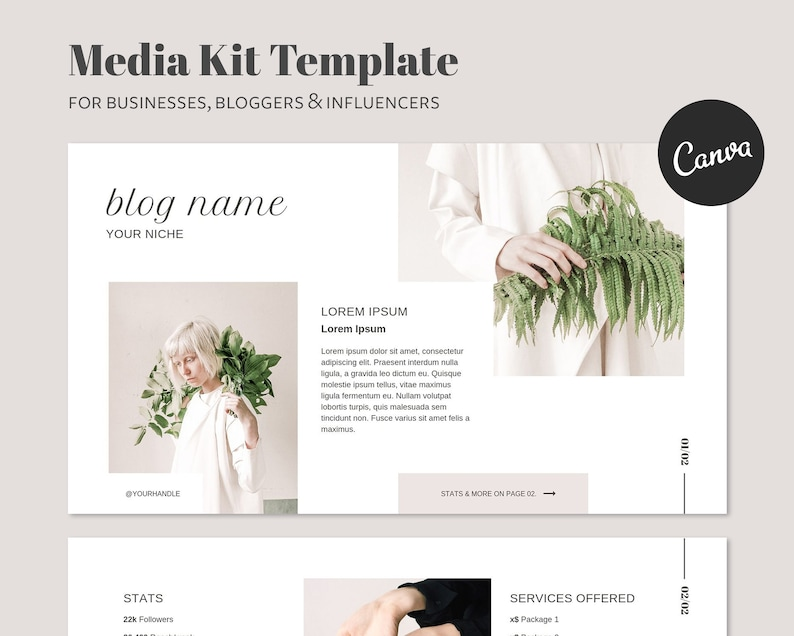Media Kit Template For Influencers And Bloggers2 Pages  image 0