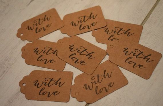 """8 Small /""""With Love/"""" Brown Gift Tags"""