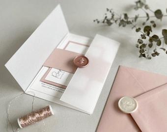 Blush Wedding Invitation Suite, Vellum Wedding Invitation, Custom Wedding Invitation, Wedding Invite, SAMPLE