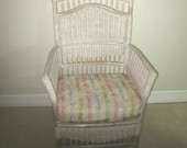 Wicker Rattan Hollywood Regency Arm Chair With Cushion Henry Link Cottage Style Shipping Is Not Included