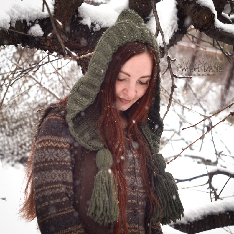 Elven emerald oversize knitted forest bonnet with tassels Hand knit caring gift for her Ready to ship.