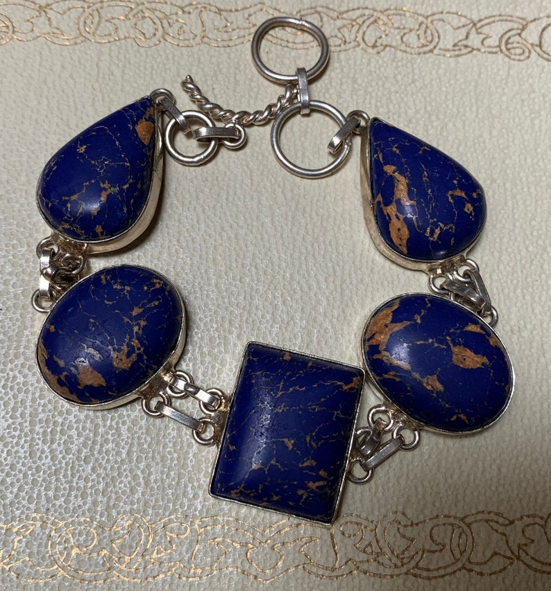 Vintage Sterling Silver Bracelet with Blue and Gold Cabochons 8.5 Inch Toggle Clasp Statement Bracelet 925 Silver