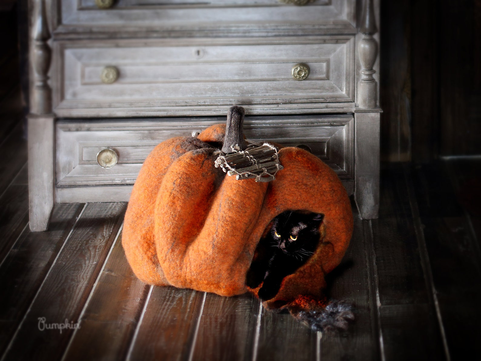 Pumpkin Cat Cave Bed