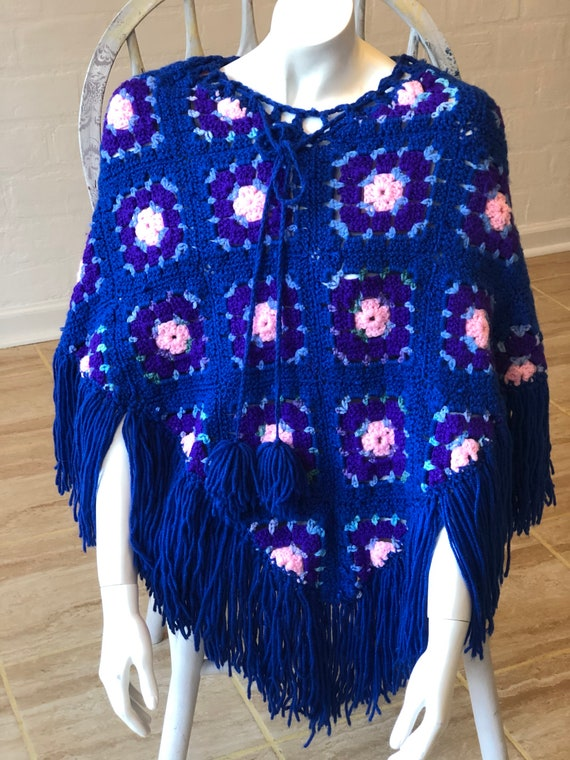 Darling Granny Square hand made women's Pancho - image 1