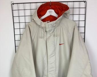 5d176f016e0 Men's Vintage 90s Nike Puffer Jacket Coat Hooded Cream and Blue UK Size  Large L