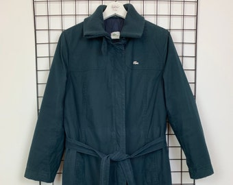 e9a5900d40 Women's Lacoste Long Belt Belted Jacket Coat Navy Blue Size 40 Medium UK 12