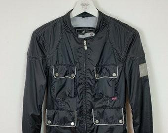 e5bc4afe29 Women's Belstaff Bomber Jacket Black Nylon Coat Biker Vintage Retro UK Size  10