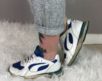 Women s Vintage 80s 90s PUMA Trainers Chunky Sole White Blue Green UK Size 4 3b0a4dafd