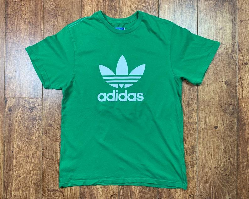 Men's Vintage Adidas Originals T Shirt Top Tee Trefoil Green UK Size M Medium