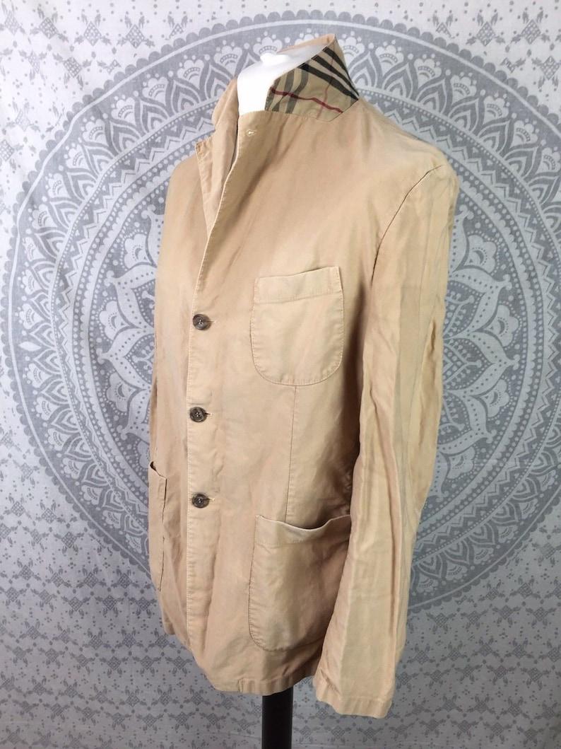 62f091605624a Vintage BURBERRY Nova Check Blazer Style Jacket Coat Top Beige