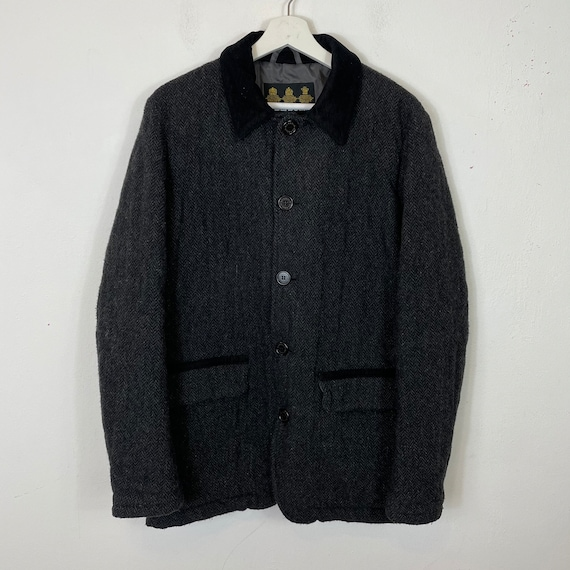 Men's Vintage Barbour Stable Wool Jacket Coat Dark