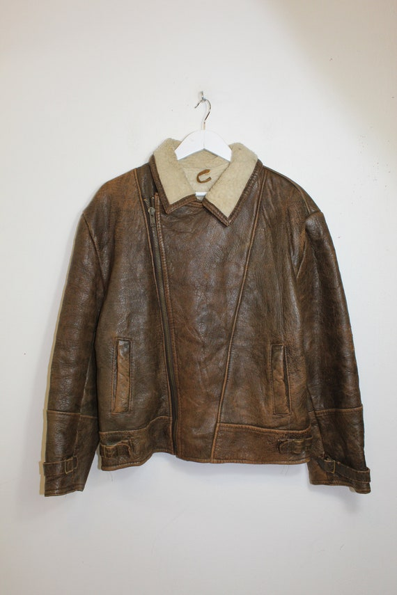 Mens Vintage Leather Flight Jacket with Sherpa Fur