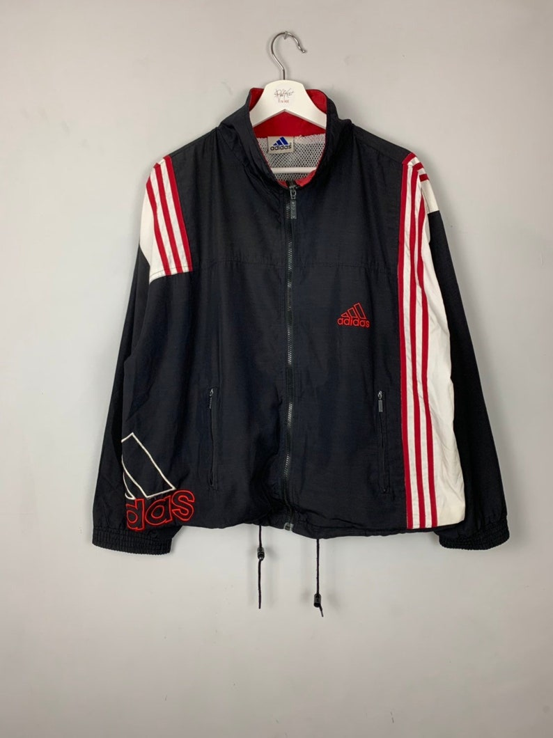 7ba7e20e5771f Men's Vintage 90s adidas Tracksuit Track Jacket Soft-shell Black and Red  Size XL