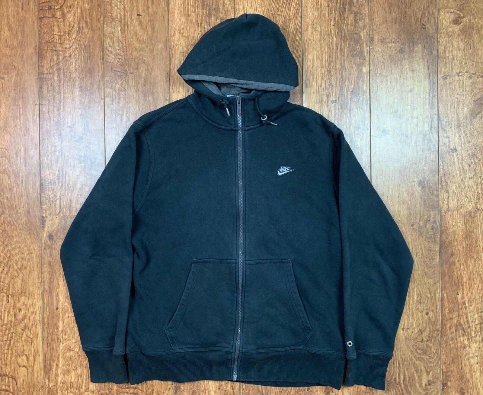 Nike Full Zip Hoodie Hood Hooded Jacket Sweatshirt Sweater Black Large L Men's